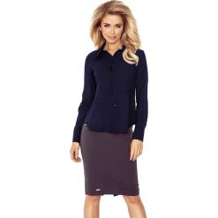 Koszula z baskinką - GRANATOWA. Niebieskie koszule wiązane damskie morimia, s, biznesowe. Za 109,99 zł.