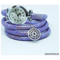 Zegarek, bransoletka - Fioletowy - owijany. Fioletowe bransoletki damskie Pakamera. Za 95,00 zł.