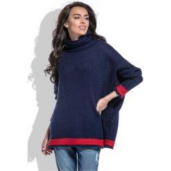 Swetry damskie: Granatowy Sweter z Golfem z Kontrastowymi Paskami