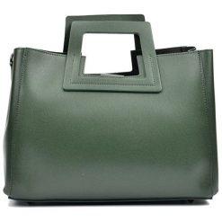 Torebki klasyczne damskie: Skórzana torebka w kolorze zielonym – (S)36 x (W)27 x (G)12 cm