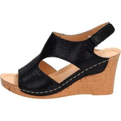 6a1ffeac6 Czarne sandały damskie FILIPPO DS785/19 KOTURN. Czarne koturny damskie  FILIPPO, bez wzorów