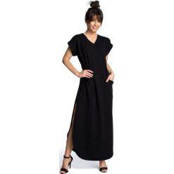 Sukienki dzianinowe: Sukienka maksi z rozcięciami po bokach – czarna
