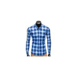 KOSZULA MĘSKA W KRATĘ Z DŁUGIM RĘKAWEM K405 - BŁĘKITNA. Niebieskie koszule męskie na spinki Ombre Clothing, m, z długim rękawem. Za 49,00 zł.