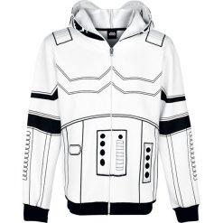 Star Wars Stormtrooper Bluza z kapturem rozpinana biały/czarny. Białe bluzy męskie rozpinane Star Wars, m, z aplikacjami, z kapturem. Za 164,90 zł.
