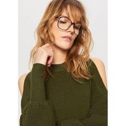Sweter z odkrytymi ramionami - Khaki. Brązowe swetry klasyczne damskie Reserved, l. W wyprzedaży za 79,99 zł.