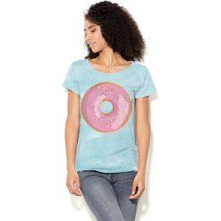 Colour Pleasure Koszulka damska CP-034  67  niebiesko-różowa r. XXXL-XXXXL. Bluzki asymetryczne Colour pleasure. Za 70,35 zł.