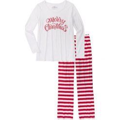 Piżamy damskie: Piżama, bawełna organiczna bonprix ciemnoczerwono-biały