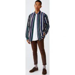 Koszula w paski retro. Szare koszule męskie w paski Pull&Bear, m, z długim rękawem. Za 99,90 zł.