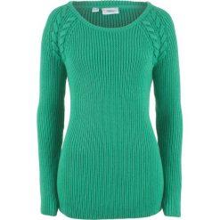 Sweter  w warkocze bonprix szmaragdowy. Zielone swetry klasyczne damskie bonprix. Za 74,99 zł.