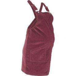 Sukienka ogrodniczka ciążowa sztruksowa bonprix czerwony klonowy. Niebieskie sukienki ciążowe marki bonprix, z materiału, z dekoltem w serek. Za 129,99 zł.