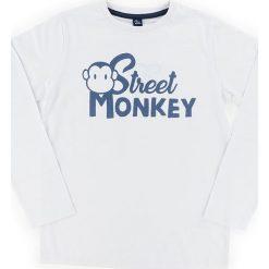 Koszulka w kolorze szarym. Szare t-shirty chłopięce z długim rękawem Street Monkey, z nadrukiem, z bawełny. W wyprzedaży za 32,95 zł.