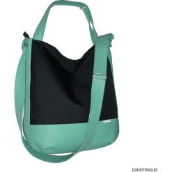 Shopper bag damskie: 5697 ankate, duża czarna torba hobo, mięta