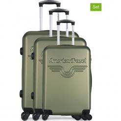 """Walizki (3 szt.) """"Chelsea"""" w kolorze khaki. Brązowe walizki American Travel, z materiału. W wyprzedaży za 434,95 zł."""