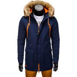 KURTKA MĘSKA ZIMOWA PARKA C358 - GRANATOWA. Niebieskie kurtki męskie pikowane marki Ombre Clothing, na zimę, m, z futra. Za 189,00 zł.
