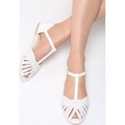 Białe Sandały Another Dimension. Białe sandały damskie marki Born2be, z materiału, na obcasie. Za 59,99 zł.