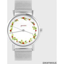 Zegarki damskie: Zegarek - Wianek, dzika róża - metalowy