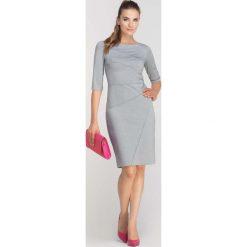 Szara Sukienka Ołówkowa z Ozdobnymi Przeszyciami. Czarne sukienki balowe marki bonprix, do pracy, w paski, moda ciążowa. Za 149,90 zł.