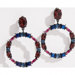 Okrągłe kolczyki z kryształkami - Wielobarwn. Czerwone kolczyki damskie marki Mohito, z bawełny. Za 29,99 zł.