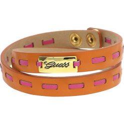 Bransoletki damskie: Skórzana bransoletka w kolorze pomarańczowo-różowym