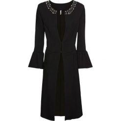 Płaszcz z aplikacją z perełek bonprix czarny. Czarne płaszcze damskie bonprix, z aplikacjami. Za 129,99 zł.