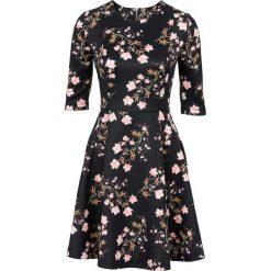Sukienki hiszpanki: Sukienka neoprenowa bonprix czarny w kwiaty