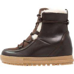 Aigle LAPONWARM Ankle boot chocolat. Brązowe buty zimowe damskie Aigle, z materiału. Za 679,00 zł.