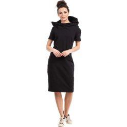 Czarna Sukienka Sportowa Midi z Kapturem. Szare sukienki dresowe marki bonprix, melanż, z kapturem, z długim rękawem, maxi. Za 135,90 zł.