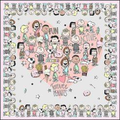 """Chusty damskie: Chusta """"Peanuts"""" w kolorze szarym – 90 x 90 cm"""