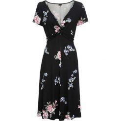 Sukienki: Sukienka dżersejowa bonprix czarny w kwiaty