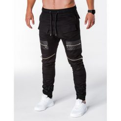 SPODNIE MĘSKIE JOGGERY P708 - CZARNE. Czarne joggery męskie marki Ombre Clothing, m, z bawełny, z kapturem. Za 79,00 zł.