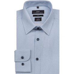 Koszula SIMONE KDNS000149. Niebieskie koszule męskie na spinki Giacomo Conti, na lato, m, w geometryczne wzory, z bawełny, z klasycznym kołnierzykiem. Za 259,00 zł.