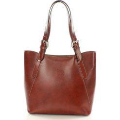Shopper bag damskie: Skórzana Włoska torebka – JENNY brąz