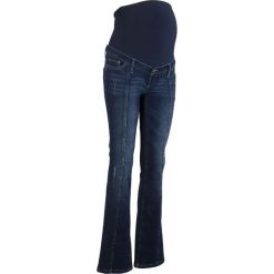 Dżinsy ciążowe BOOTCUT bonprix ciemny denim. Niebieskie jeansy damskie bootcut bonprix, moda ciążowa. Za 99,99 zł.