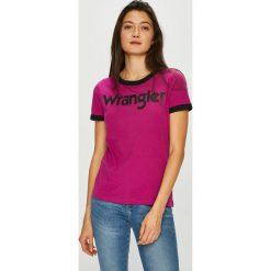 Wrangler - Top. Fioletowe topy damskie Wrangler, l, z nadrukiem, z bawełny, z okrągłym kołnierzem. Za 99,90 zł.