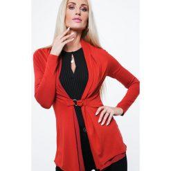 Swetry damskie: Kardigan z klamerką rudy MP16164