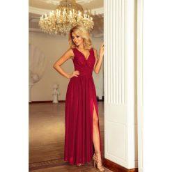 Marion MAXI szyfonowa sukienka z rozcięciem - ŚLIWKA. Czerwone długie sukienki numoco, s, z szyfonu. Za 319,98 zł.