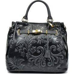 Torebki klasyczne damskie: Skórzana torebka w kolorze czarnym – 27 x 35 x 19 cm
