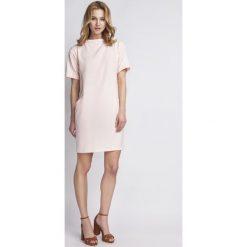 Sukienki: Prosta Różowa Sukienka z Krótkim Rękawem