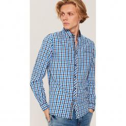 Twillowa koszula w kratkę - Niebieski. Szare koszule męskie w kratę marki House, l, z bawełny. Za 79,99 zł.
