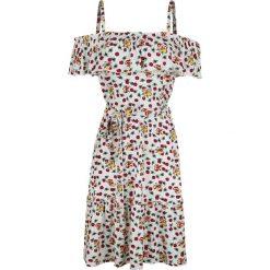 Pussy Deluxe Flowers and Bees Off Shoulder Dress Sukienka wielokolorowy. Niebieskie sukienki na komunię marki bonprix, na lato, w kwiaty, z asymetrycznym kołnierzem. Za 121,90 zł.
