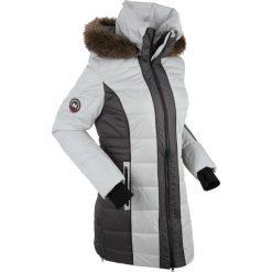 Płaszcz outdoorowy bonprix srebrny. Szare płaszcze damskie z futerkiem marki bonprix. Za 269,99 zł.