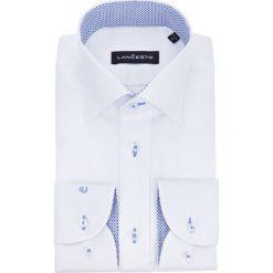 Koszula Biała Almeria 3. Białe koszule męskie na spinki marki LANCERTO, m, z haftami, z bawełny, z klasycznym kołnierzykiem. Za 299,90 zł.