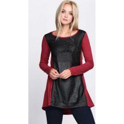 Czarno-Czerwona Bluzka Don't Stress. Czarne bluzki longsleeves marki Born2be, l, z aplikacjami, ze skóry, z okrągłym kołnierzem. Za 34,99 zł.