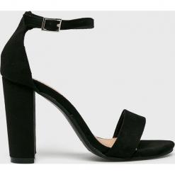 Truffle Collection - Sandały. Czarne sandały damskie na słupku marki Kazar, z nubiku, na wysokim obcasie. Za 149,90 zł.