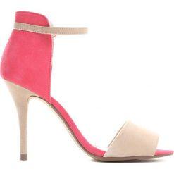 Różowo-Beżowe Sandały Be The Princess. Brązowe sandały damskie Born2be, z materiału, na wysokim obcasie, na obcasie. Za 99,99 zł.