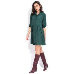 Fille Du Couturier Sukienka Damska Oriane 38 Zielony. Zielone sukienki Fille Du Couturier, z koszulowym kołnierzykiem, koszulowe. Za 209,00 zł.
