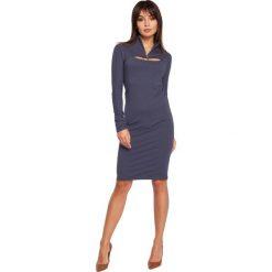 ERIN Sukienka ołówkowa z bolerkiem - niebieska. Niebieskie sukienki balowe marki BE, l, z dzianiny, z golfem, z długim rękawem, mini, ołówkowe. Za 136,99 zł.