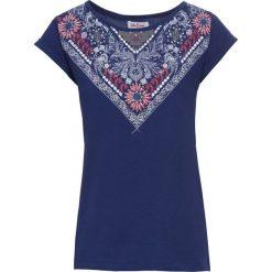 T-shirt z bawełny z nadrukiem, krótki rękaw bonprix kobaltowy z nadrukiem. Niebieskie t-shirty damskie bonprix, z nadrukiem, z bawełny, z okrągłym kołnierzem. Za 34,99 zł.