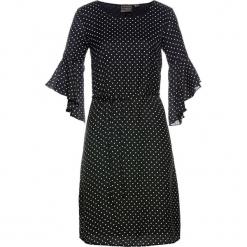 Sukienka bonprix czarno-biały w kropki. Czarne sukienki z falbanami marki bonprix, w kropki. Za 79,99 zł.