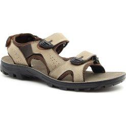 Sandały męskie: Sandały męskie skórzane na rzepy brązowe Hasby